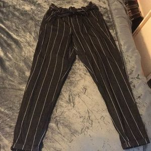 Pants - Dark grey and white striped pants
